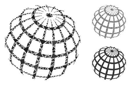 Abstract sphere grid composition of joggly items in various sizes and color tints, based on abstract sphere grid icon. Vector ragged elements are composed into collage.