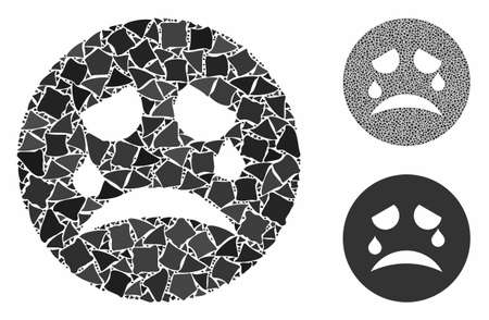 Sad smiley mosaic of humpy items in various sizes and color tones, based on sad smiley icon. Vector tremulant parts are organized into collage. Sad smiley icons collage with dotted pattern.
