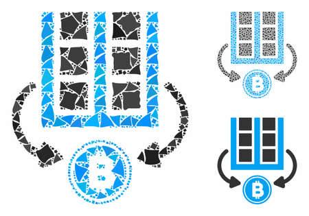 Bitcoin mining farm composition of humpy pieces in different sizes and color tinges, based on Bitcoin mining farm icon. Vector humpy parts are united into mosaic. Stock Illustratie