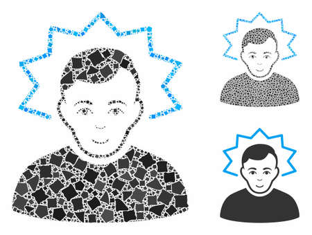 Inventor composition of tremulant pieces in different sizes and shades, based on inventor icon. Vector tremulant pieces are composed into composition. Inventor icons collage with dotted pattern.