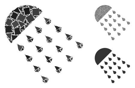Spray stream composition of unequal pieces in variable sizes and color hues, based on spray stream icon. Vector inequal pieces are combined into collage.