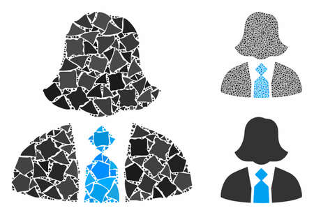 Lady manager mosaic of joggly pieces in different sizes and shades, based on lady manager icon. Vector tremulant pieces are composed into mosaic. Lady manager icons collage with dotted pattern.