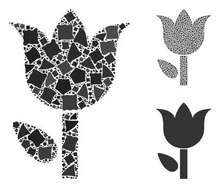 Tulip composition of inequal pieces in different sizes and color tints, based on tulip icon. Vector rugged parts are grouped into composition. Tulip icons collage with dotted pattern.