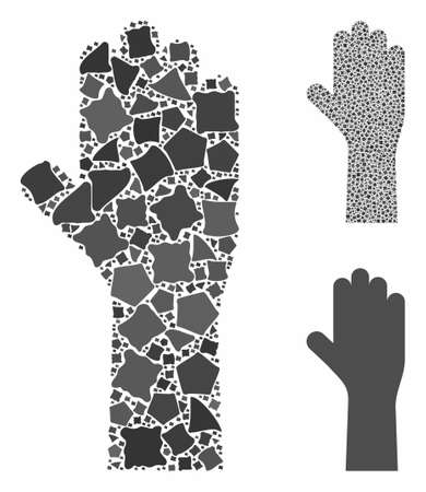 Vote hand composition of bumpy pieces in different sizes and color tones, based on vote hand icon. Vector humpy pieces are united into collage. Vote hand icons collage with dotted pattern.