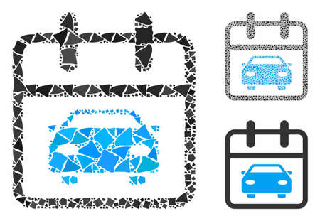 Car day composition of rugged pieces in various sizes and color tints, based on car day icon. Vector rugged dots are combined into composition. Car day icons collage with dotted pattern.