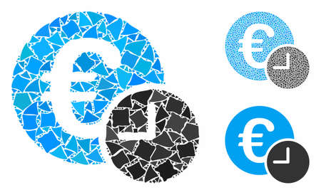 Euro credit mosaic of rugged pieces in variable sizes and color tinges, based on Euro credit icon. Vector unequal pieces are combined into mosaic. Euro credit icons collage with dotted pattern. Çizim