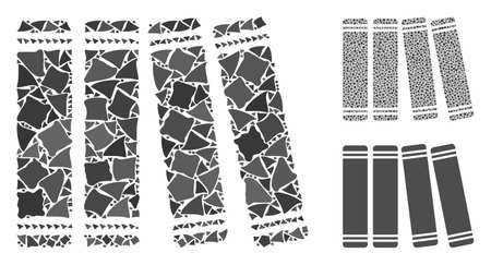 Anamnesis books mosaic of trembly elements in various sizes and color tinges, based on anamnesis books icon. Vector trembly elements are united into collage.