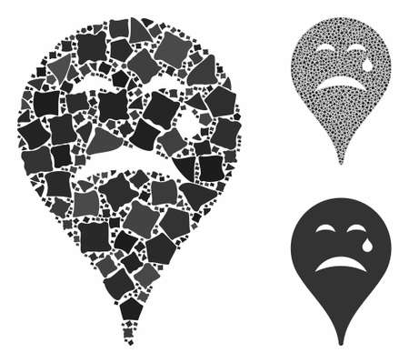 Cry smiley map marker mosaic of tuberous pieces in different sizes and color tones, based on cry smiley map marker icon. Vector tuberous items are combined into collage. Ilustracja
