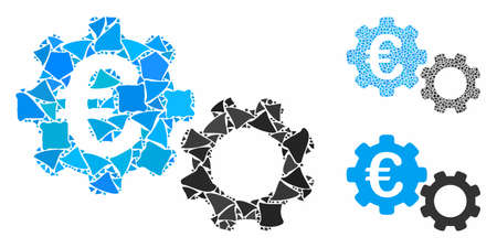 Euro mechanics mosaic of uneven pieces in variable sizes and color tinges, based on Euro mechanics icon. Vector humpy pieces are grouped into mosaic. Euro mechanics icons collage with dotted pattern. Illustration
