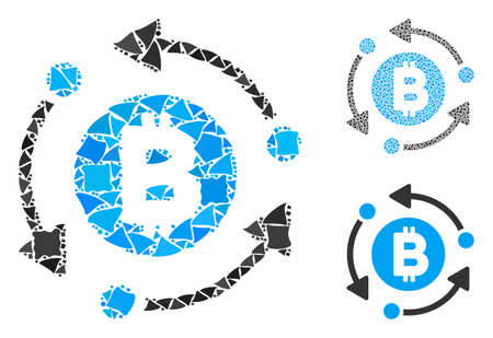 Bitcoin rotation arrows mosaic of raggy pieces in variable sizes and color hues, based on Bitcoin rotation arrows icon. Vector humpy pieces are composed into collage. Иллюстрация