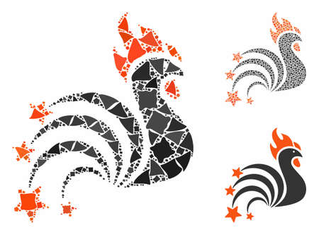 Rooster sparkles mosaic of abrupt parts in various sizes and color tints, based on rooster sparkles icon. Vector humpy parts are composed into mosaic.
