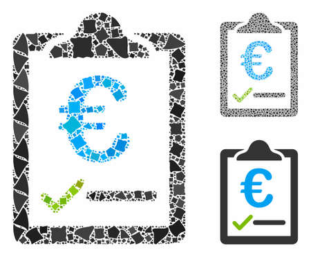 Euro price quote composition of humpy pieces in different sizes and color tints, based on euro price quote icon. Vector joggly pieces are grouped into collage.