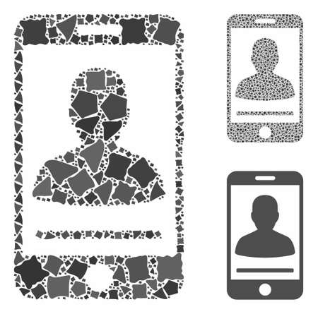 Mobile person contact composition of tremulant elements in various sizes and color tones, based on mobile person contact icon. Vector rough elements are united into collage.
