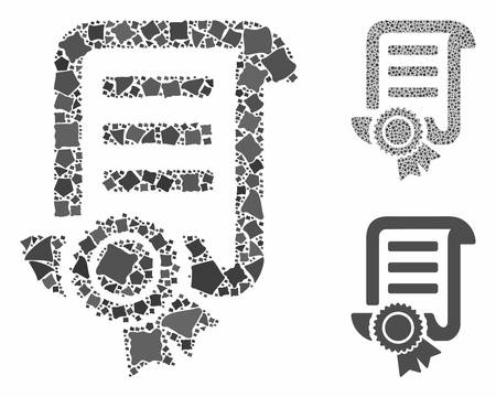 Patent mosaic of tuberous pieces in various sizes and color tones, based on patent icon. Vector rough pieces are united into collage. Patent icons collage with dotted pattern. Ilustrace