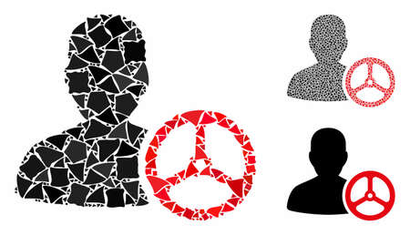 Driver person composition of unequal pieces in various sizes and color tinges, based on driver person icon. Vector unequal parts are combined into collage.