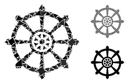 Dharma wheel mosaic of rough elements in variable sizes and color tinges, based on dharma wheel icon. Vector raggy elements are grouped into collage. Dharma wheel icons collage with dotted pattern.
