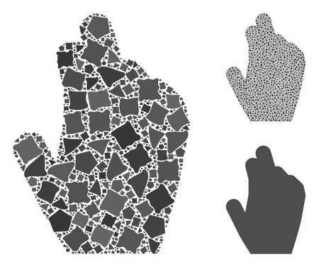 Manage hand composition of ragged pieces in different sizes and color tones, based on manage hand icon. Vector ragged pieces are united into collage. Manage hand icons collage with dotted pattern.