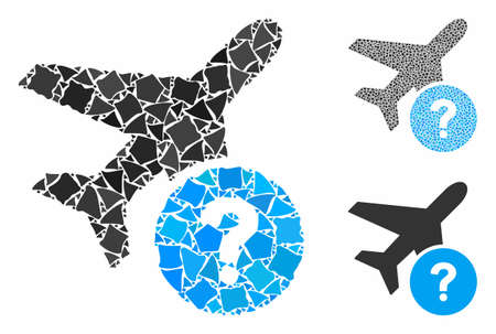 Airplane status mosaic of joggly parts in various sizes and shades, based on airplane status icon. Vector trembly parts are organized into mosaic. Airplane status icons collage with dotted pattern.