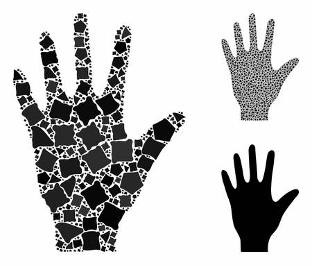 Hand composition of rugged parts in various sizes and shades, based on hand icon. Vector rugged parts are grouped into illustration. Hand icons collage with dotted pattern.