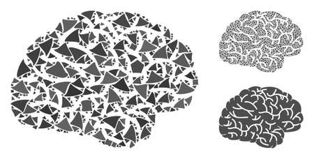 Brain mosaic of tremulant items in different sizes and color tinges, based on brain icon. Vector humpy items are united into mosaic. Brain icons collage with dotted pattern.