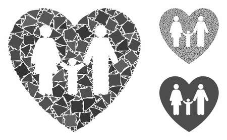 Family love heart mosaic of abrupt items in various sizes and color tinges, based on family love heart icon. Vector trembly items are grouped into mosaic.
