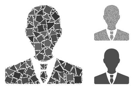 Manager mosaic of irregular elements in various sizes and color tints, based on manager icon. Vector abrupt elements are composed into mosaic. Manager icons collage with dotted pattern.