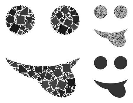 Tongue smiley composition of abrupt elements in different sizes and shades, based on tongue smiley icon. Vector humpy elements are united into composition.