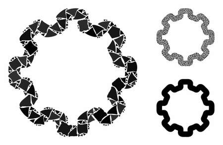 Cogwheel composition of joggly parts in different sizes and color tones, based on cogwheel icon. Vector abrupt pieces are united into composition. Cogwheel icons collage with dotted pattern.