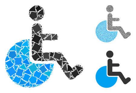 Wheelchair mosaic of raggy elements in various sizes and color tinges, based on wheelchair icon. Vector rugged elements are organized into mosaic. Wheelchair icons collage with dotted pattern.