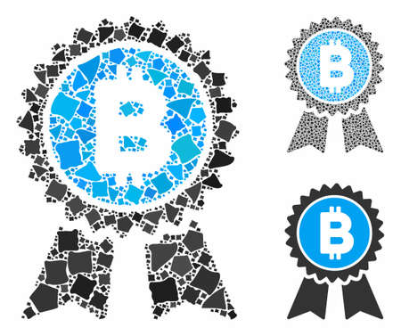Bitcoin award seal mosaic of raggy parts in variable sizes and color tinges, based on Bitcoin award seal icon. Vector abrupt pieces are united into collage. Ilustração