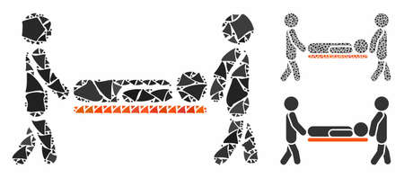 Patient stretcher mosaic of tuberous pieces in different sizes and color tones, based on patient stretcher icon. Vector humpy pieces are combined into mosaic.