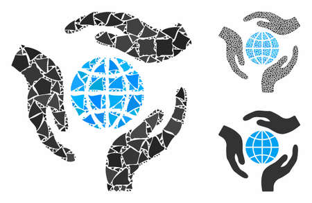 Global protection mosaic of rugged items in various sizes and color tinges, based on global protection icon. Vector tuberous items are grouped into mosaic.