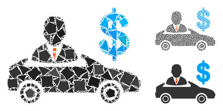 Car seller mosaic of unequal parts in various sizes and color tints, based on car seller icon. Vector raggy parts are grouped into collage. Car seller icons collage with dotted pattern. Illustration