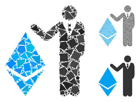 Banker show Ethereum mosaic of ragged elements in variable sizes and shades, based on banker show Ethereum icon. Vector abrupt elements are organized into mosaic.