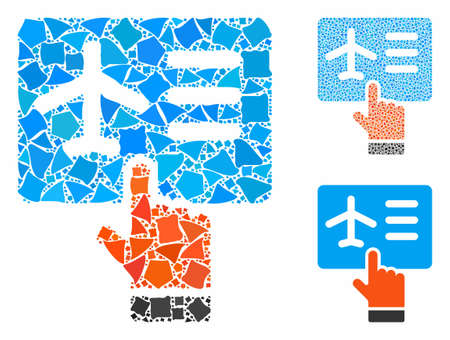 Airline ticket booking composition of humpy pieces in various sizes and shades, based on airline ticket booking icon. Vector trembly pieces are organized into mosaic.