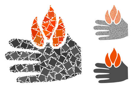 Burn hand composition of irregular parts in different sizes and color tones, based on burn hand icon. Vector irregular pieces are combined into composition. Illustration