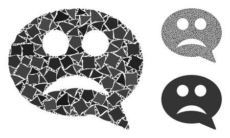 Sad smiley message composition of inequal items in various sizes and shades, based on sad smiley message icon. Vector uneven items are organized into composition.