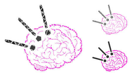 Brain operation composition of joggly parts in various sizes and shades, based on brain operation icon. Vector ragged parts are composed into collage.