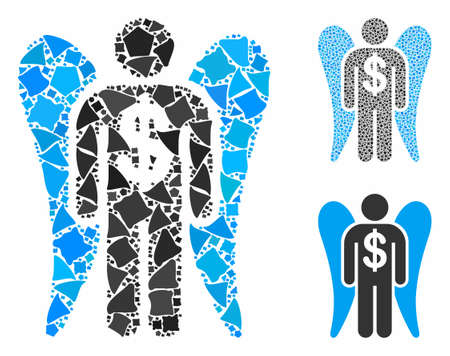 Angel investor mosaic of irregular pieces in variable sizes and color tinges, based on angel investor icon. Vector irregular pieces are united into mosaic. Illustration