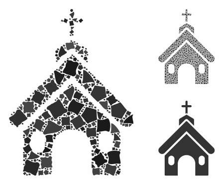 Church composition of joggly elements in various sizes and color tones, based on church icon. Vector trembly elements are composed into illustration. Church icons collage with dotted pattern. 向量圖像