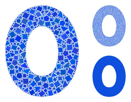 0 digit composition of humpy items in variable sizes and color tones, based on 0 digit icon. Vector uneven items are composed into composition. 0 digit icons collage with dotted pattern.