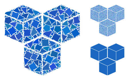 Sugar cubes composition of abrupt parts in variable sizes and color tones, based on sugar cubes icon. Vector rugged parts are organized into collage. Sugar cubes icons collage with dotted pattern.