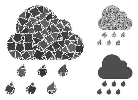 Rain cloud mosaic of abrupt pieces in different sizes and color tints, based on rain cloud icon. Vector abrupt pieces are united into composition. Rain cloud icons collage with dotted pattern.