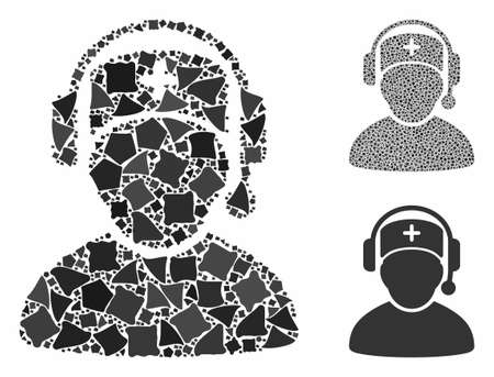 Doctor call center composition of humpy items in variable sizes and color hues, based on doctor call center icon. Vector humpy dots are combined into collage.