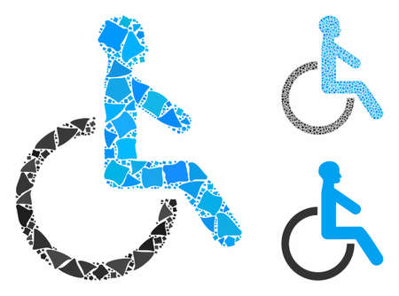Wheelchair composition of trembly elements in variable sizes and color tones, based on wheelchair icon. Vector trembly parts are organized into composition.