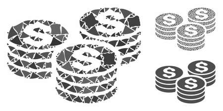 Dollar coin stacks mosaic of abrupt items in different sizes and color tinges, based on dollar coin stacks icon. Vector rough items are grouped into collage.