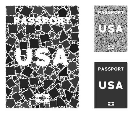 American passport composition of humpy parts in different sizes and shades, based on American passport icon. Vector rough parts are organized into composition.
