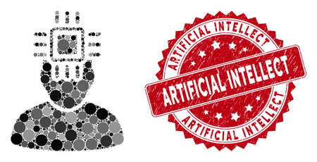 Mosaic neuro interface and corroded stamp watermark with Artificial Intellect text. Mosaic vector is composed with neuro interface icon and with scattered spheric elements.