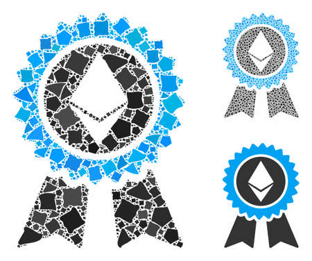 Ethereum reward seal composition of humpy elements in various sizes and color tints, based on Ethereum reward seal icon. Vector tremulant elements are united into collage.
