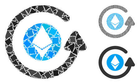 Ethereum chargeback composition of rugged items in different sizes and color hues, based on Ethereum chargeback icon. Vector ragged items are grouped into collage.